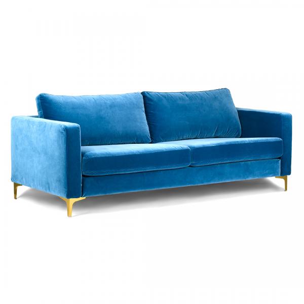 Stupendous Custom Slipcover For Ikea Karlstad Sofa Velvet Blue Evergreenethics Interior Chair Design Evergreenethicsorg