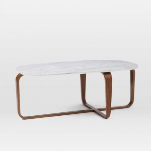 West Elm Leigh Coffee Table, Marble / Walnut