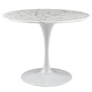"""LIPPA 40"""" ROUND ARTIFICIAL MARBLE DINING TABLE IN WHITE"""
