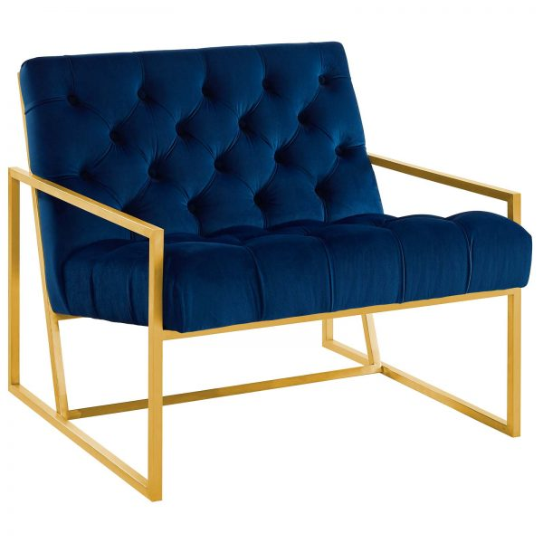 BEQUEST GOLD STAINLESS STEEL UPHOLSTERED VELVET ACCENT CHAIR IN NAVY