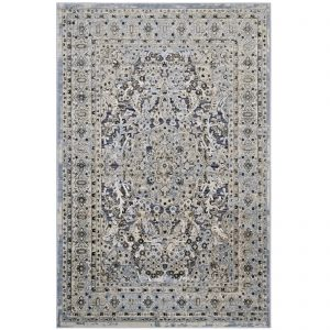 ELQENNA ORNATE VINTAGE FLORAL TURKISH 8X10 AREA RUG IN BLUE AND CREAM