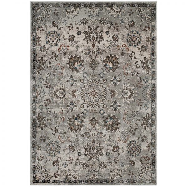 HANA DISTRESSED VINTAGE FLORAL LATTICE 8X10 AREA RUG IN SILVER BLUE, BEIGE AND BROWN