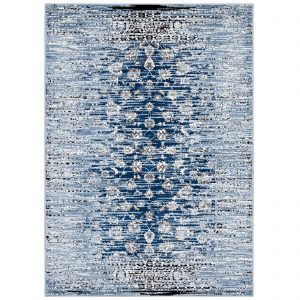 CHIARA DISTRESSED FLORAL LATTICE CONTEMPORARY 8X10 AREA RUG IN MOROCCAN BLUE