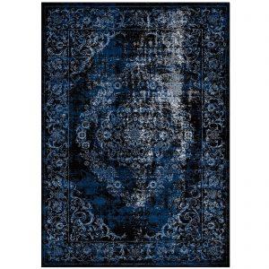 GAMELA RUSTIC VINTAGE ORNATE FLORAL MEDALLION 8X10 AREA RUG IN MOROCCAN BLUE AND LIGHT BLUE